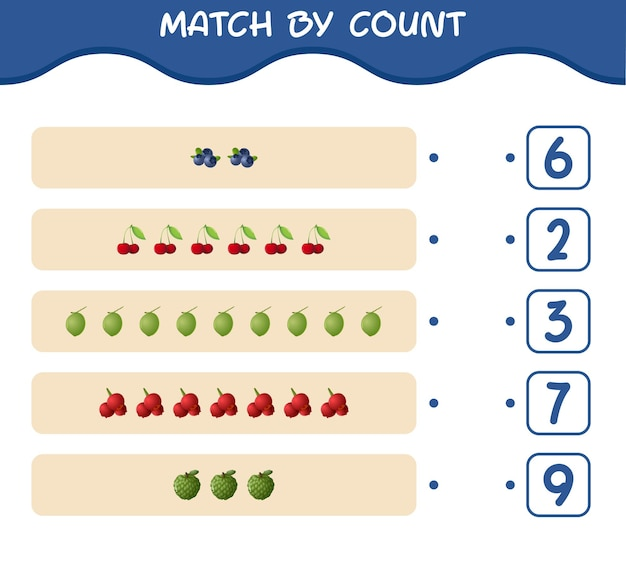 Match door het aantal cartoonvruchten. match en tel het spel. educatief spel voor kinderen