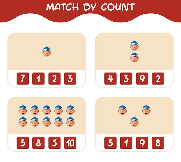 Match door het aantal tekenfilmjongens. match en tel spel. educatief spel voor kinderen en peuters in de kleuterklas