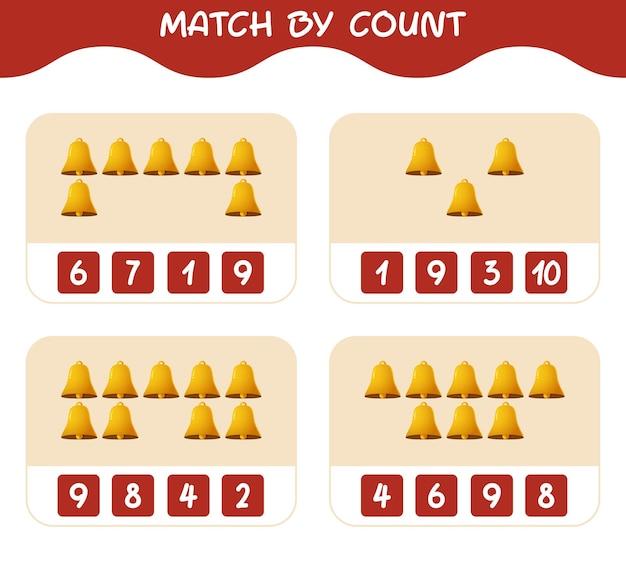 Match door telling van cartoon bell. match en tel spel. educatief spel voor kinderen en peuters in de kleuterklas