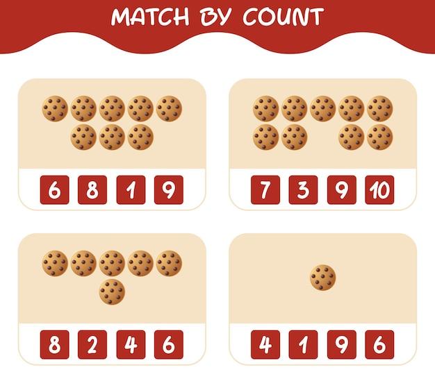 Match door telling van cartoon cookie. match en tel spel. educatief spel voor kinderen en peuters in de kleuterklas