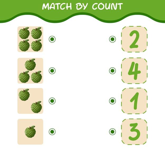 Match door telling van cartoon custard-appels. match en tel het spel. educatief spel voor kleuters en kleuters