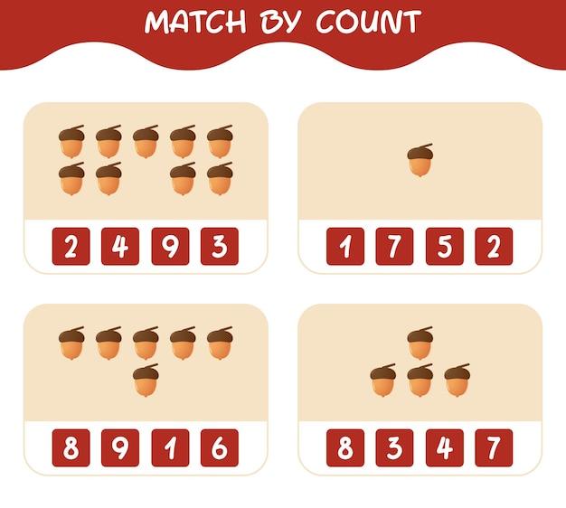 Match door telling van cartoon eikel. match en tel spel. educatief spel voor kinderen en peuters in de kleuterklas