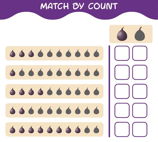 Match door telling van cartoon fig. match en tel het spel. educatief spel voor kleuters en kleuters