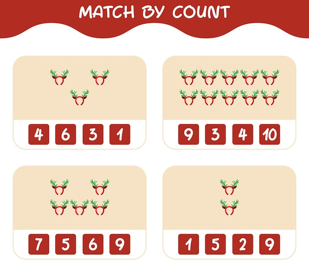 Match door telling van cartoon gewei hoofdband. match en tel spel. educatief spel voor kinderen en peuters in de kleuterklas