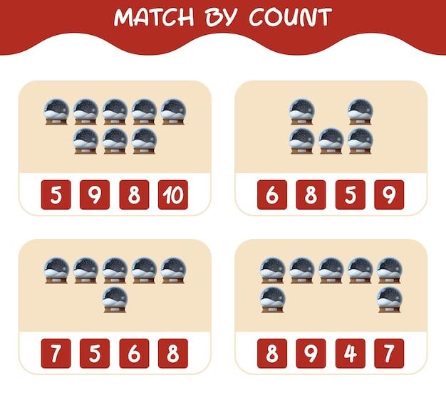 Match door telling van cartoon glazen sneeuwbal. match en tel spel. educatief spel voor kinderen en peuters in de kleuterklas