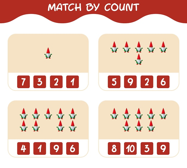 Match door telling van cartoon gnome. match en tel spel. educatief spel voor kinderen en peuters in de kleuterklas