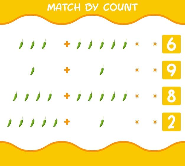 Match door telling van cartoon groene chili. match en tel spel. educatief spel voor kinderen en peuters in de kleuterklas