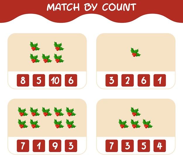 Match door telling van cartoon hulstbes. match en tel spel. educatief spel voor kinderen en peuters in de kleuterklas