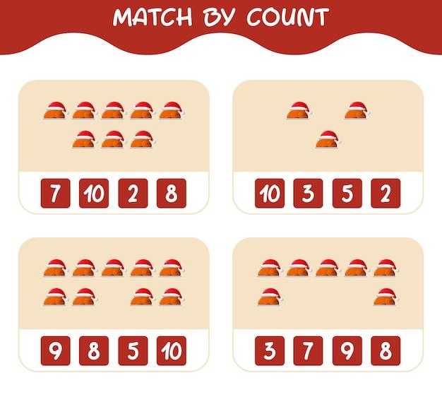 Match door telling van cartoon kalkoen. match en tel spel. educatief spel voor kinderen en peuters in de kleuterklas