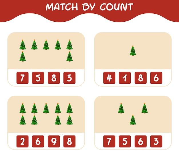 Match door telling van cartoon kerstboom. match en tel spel. educatief spel voor kinderen en peuters in de kleuterklas