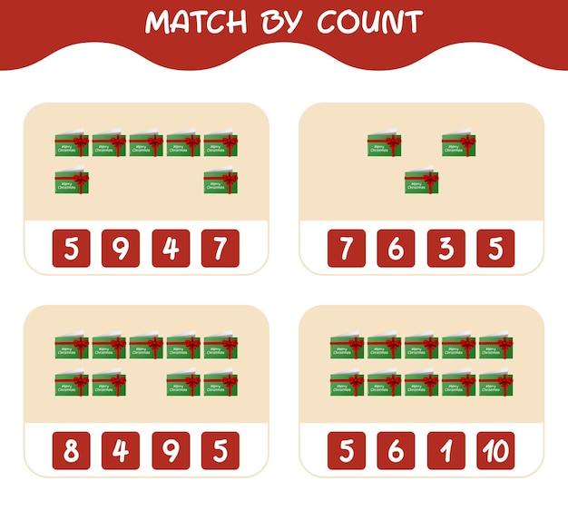Match door telling van cartoon kerstkaart. match en tel spel. educatief spel voor kinderen en peuters in de kleuterklas