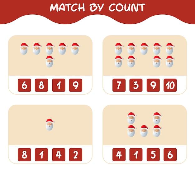 Match door telling van cartoon kerstman. match en tel spel. educatief spel voor kinderen en peuters in de kleuterklas