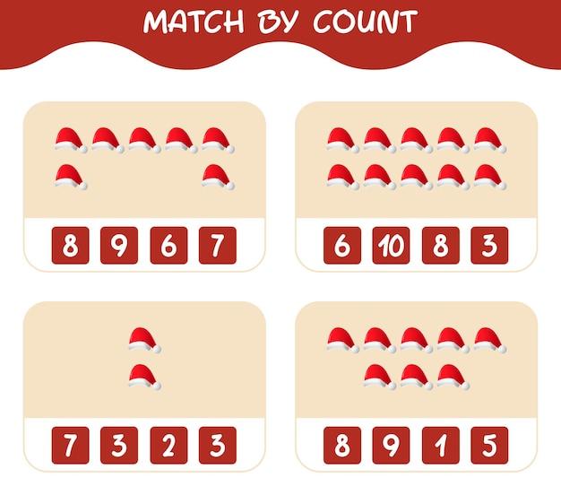 Match door telling van cartoon kerstmuts. match en tel spel. educatief spel voor kinderen en peuters in de kleuterklas