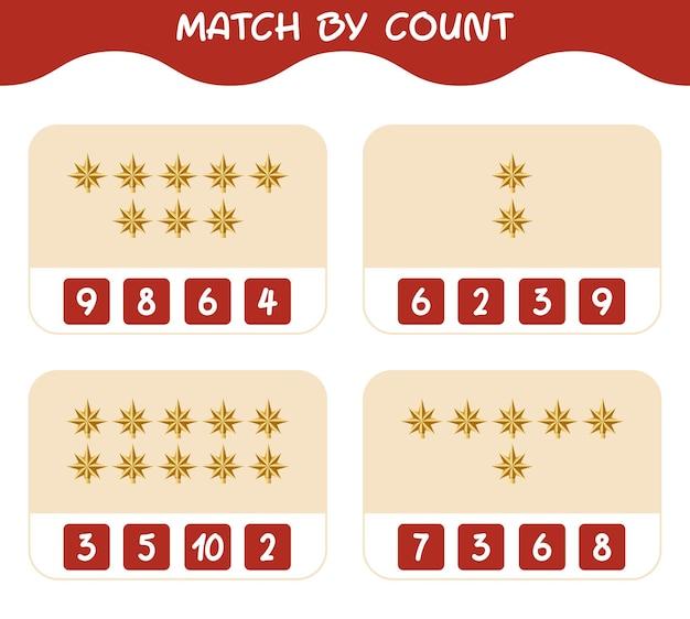 Match door telling van cartoon kerstster. match en tel spel. educatief spel voor kinderen en peuters in de kleuterklas