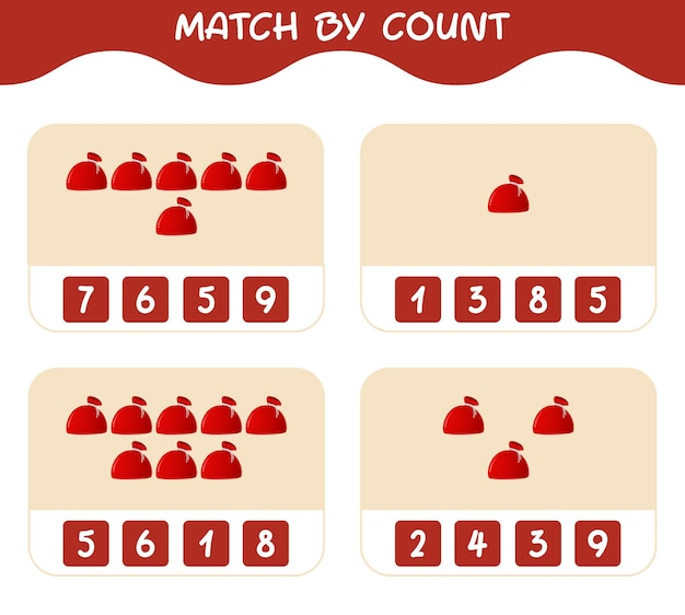 Match door telling van cartoon kersttas. match en tel spel. educatief spel voor kinderen en peuters in de kleuterklas