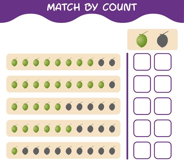 Match door telling van cartoon kokosnoot. match en tel het spel. educatief spel voor kleuters en kleuters