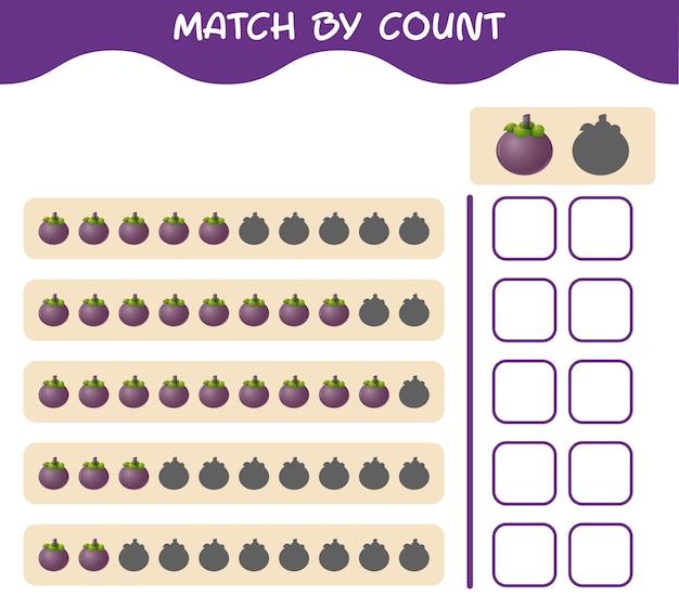 Match door telling van cartoon mangosteen. match en tel het spel. educatief spel voor kleuters en kleuters