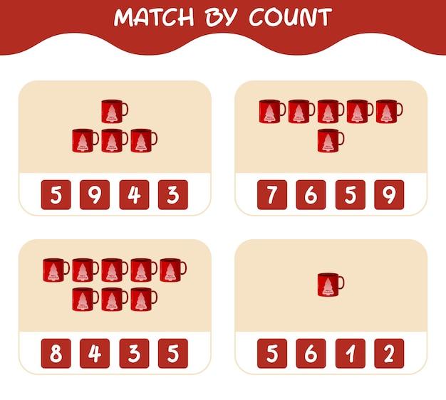 Match door telling van cartoon mok. match en tel spel. educatief spel voor kinderen en peuters in de kleuterklas