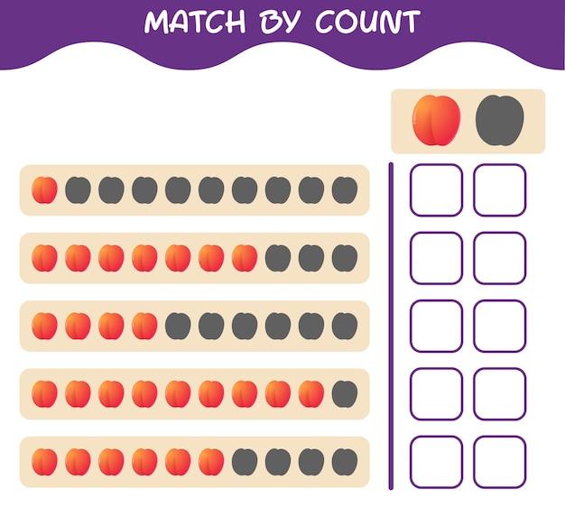 Match door telling van cartoon nectarine. match en tel het spel. educatief spel voor kleuters en kleuters