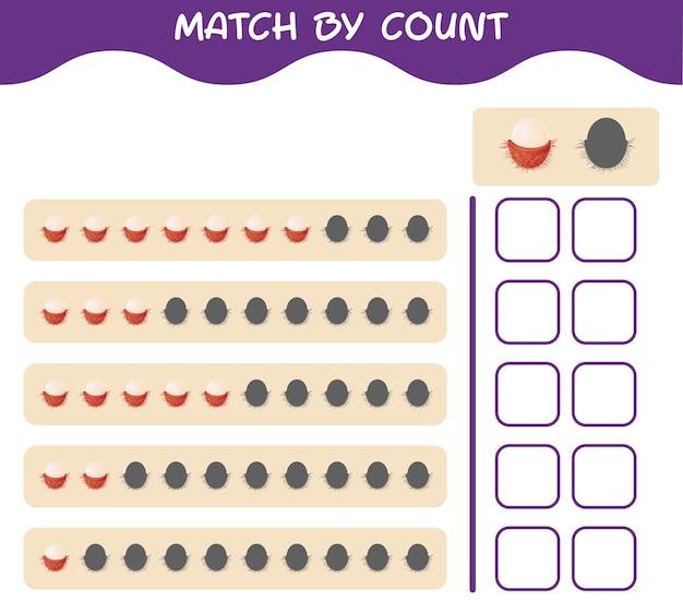 Match door telling van cartoon rambutan. match en tel het spel. educatief spel voor kleuters en kleuters