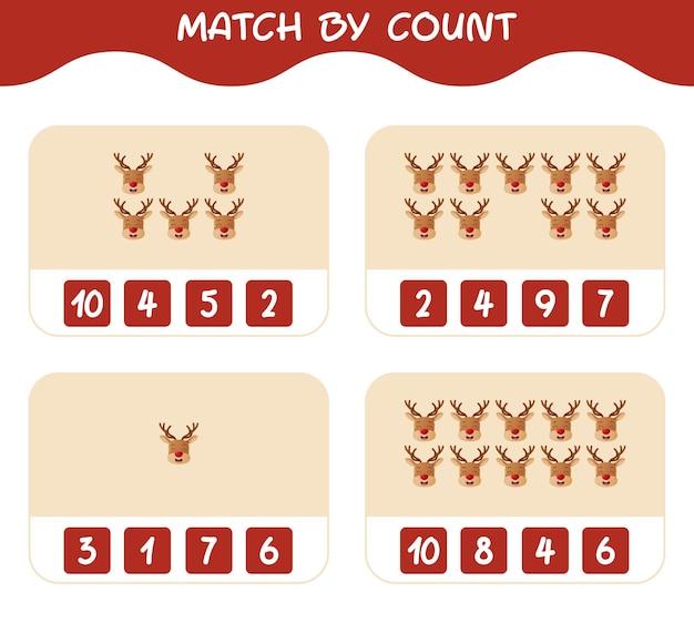 Match door telling van cartoon rendieren. match en tel spel. educatief spel voor kinderen en peuters in de kleuterklas