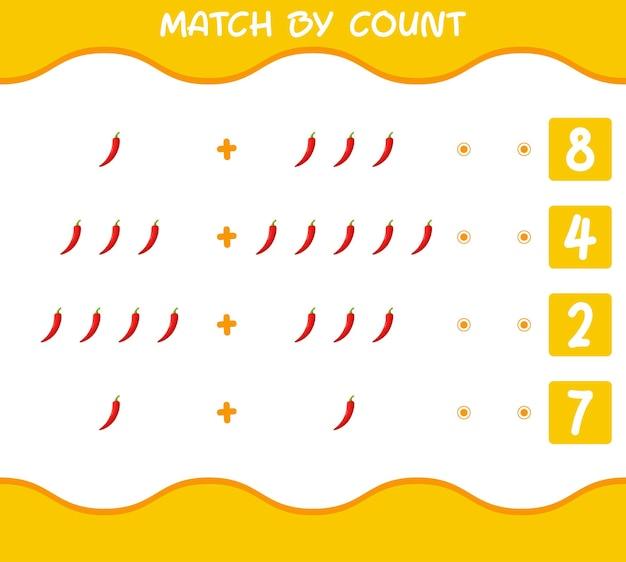 Match door telling van cartoon rode chili. match en tel spel. educatief spel voor kinderen en peuters in de kleuterklas