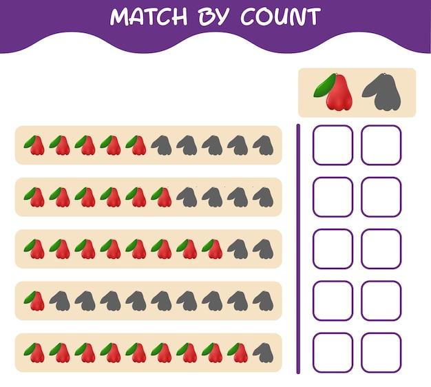 Match door telling van cartoon rozenappel. match en tel het spel. educatief spel voor kleuters en kleuters