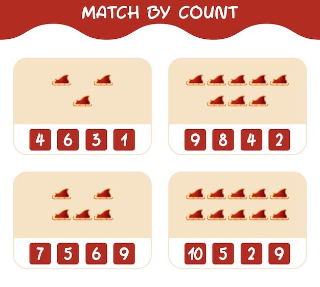 Match door telling van cartoon santa slee. match en tel spel. educatief spel voor kinderen en peuters in de kleuterklas