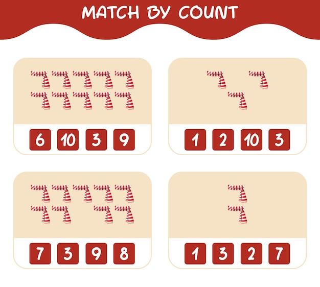 Match door telling van cartoon sjaal. match en tel spel. educatief spel voor kinderen en peuters in de kleuterklas