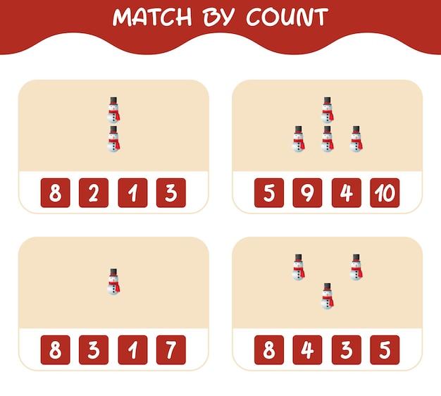 Match door telling van cartoon sneeuwpop. match en tel spel. educatief spel voor kinderen en peuters in de kleuterklas