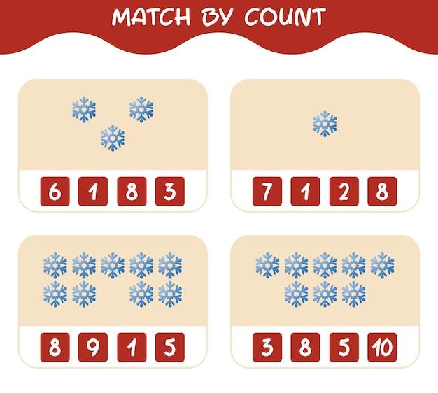 Match door telling van cartoon sneeuwvlok. match en tel spel. educatief spel voor kinderen en peuters in de kleuterklas