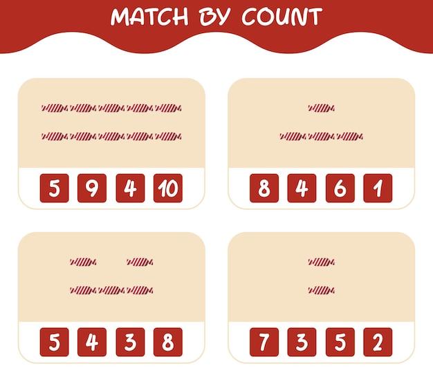 Match door telling van cartoon snoep. match en tel spel. educatief spel voor kinderen en peuters in de kleuterklas