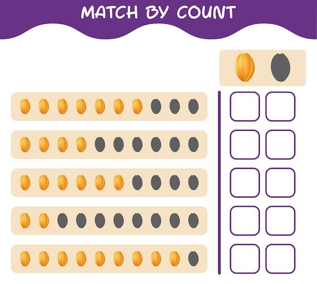 Match door telling van cartoon starfruit. match en tel het spel. educatief spel voor kleuters en kleuters