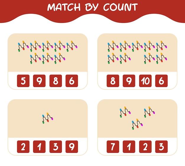 Match door telling van cartoon string light. match en tel spel. educatief spel voor kinderen en peuters in de kleuterklas