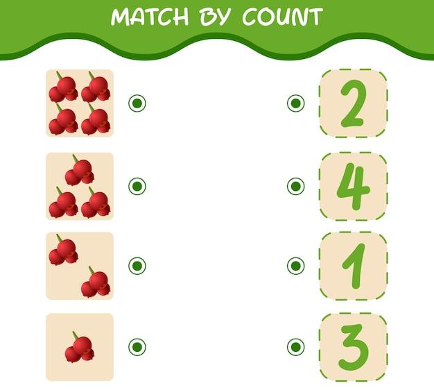 Match door telling van cartoon-veenbessen. match en tel het spel. educatief spel voor kleuters en kleuters