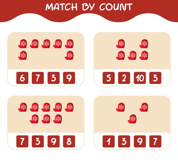 Match door telling van cartoon want. match en tel spel. educatief spel voor kinderen en peuters in de kleuterklas