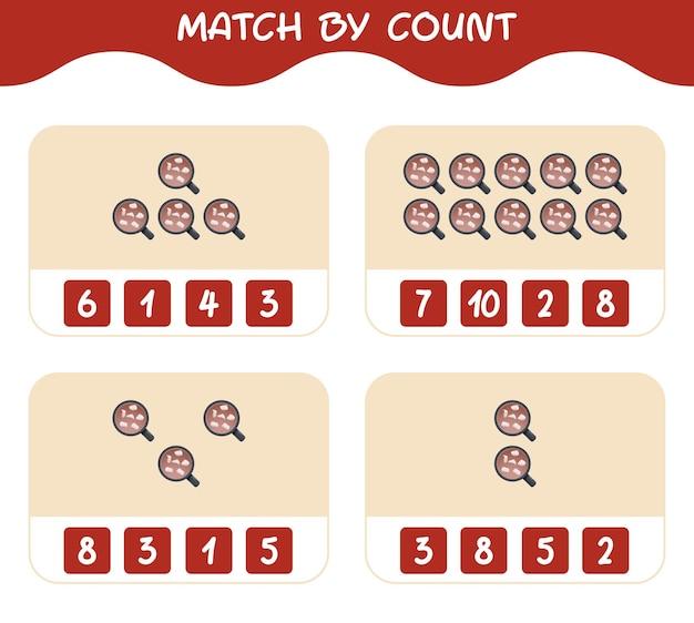 Match door telling van cartoon warme chocolademelk. match en tel spel. educatief spel voor kinderen en peuters in de kleuterklas