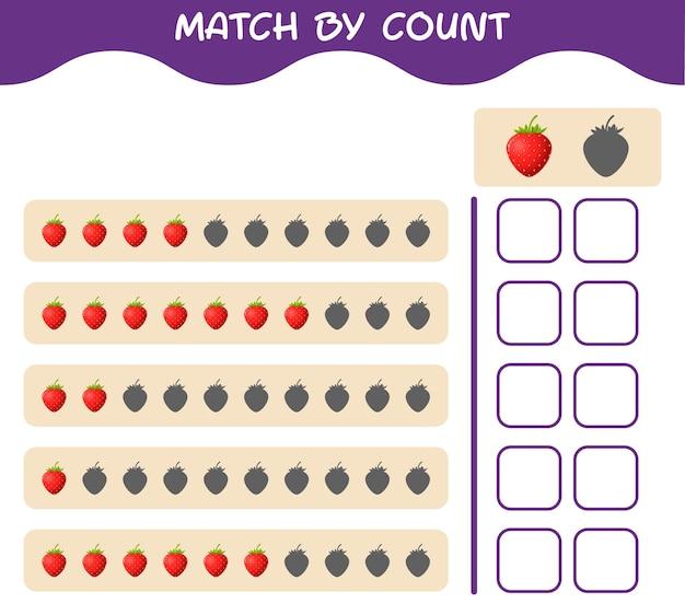 Match door telling van cartoonaardbei. match en tel het spel. educatief spel voor kleuters en kleuters