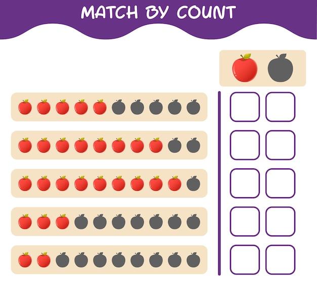 Match door telling van cartoonappel. match en tel het spel. educatief spel voor kleuters en kleuters