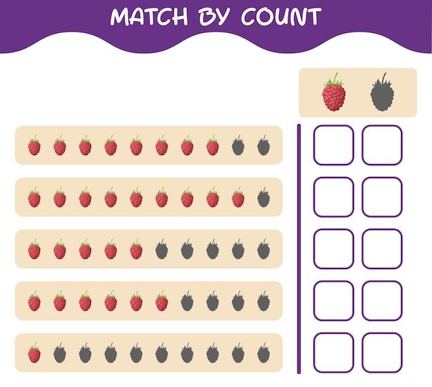 Match door telling van cartoonframboos. match en tel het spel. educatief spel voor kleuters en kleuters