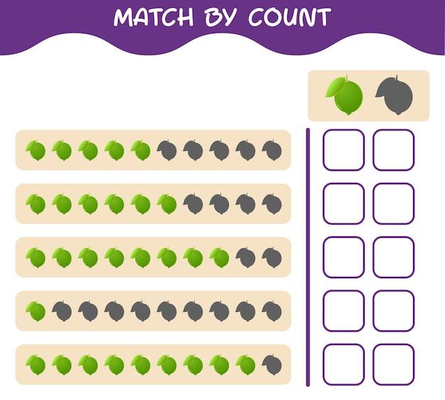 Match door telling van cartoonkalk. match en tel het spel. educatief spel voor kleuters en kleuters