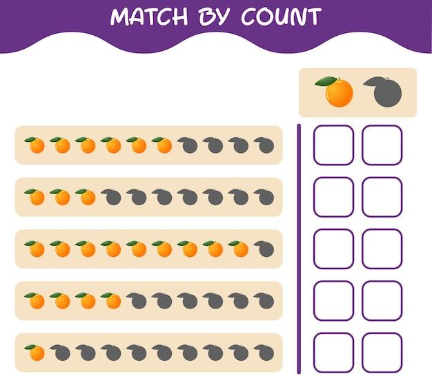Match door telling van cartoonsinaasappel. match en tel het spel. educatief spel voor kleuters en kleuters