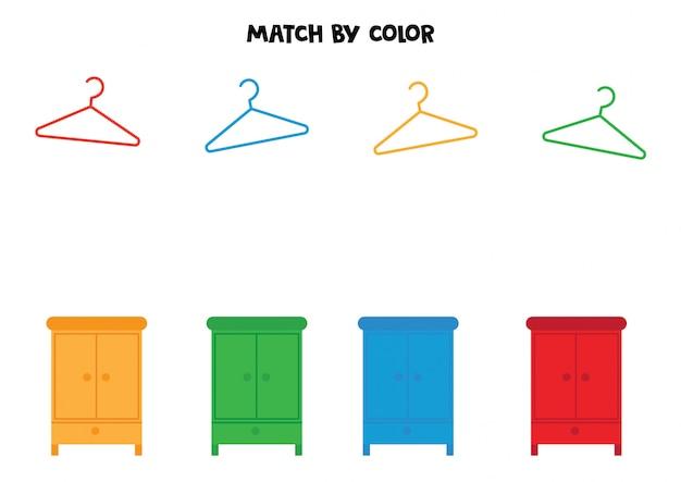Match hangers en kasten op kleur.
