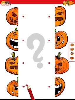 Match helften spel van halloween pompoenen