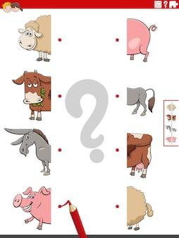 Match helften van afbeeldingen met educatieve taak boerderijdieren