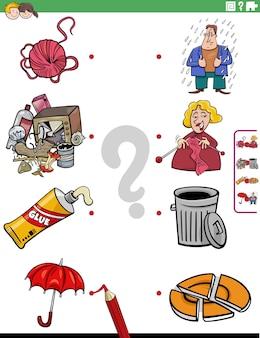 Match mensen karakters en objecten educatieve taak