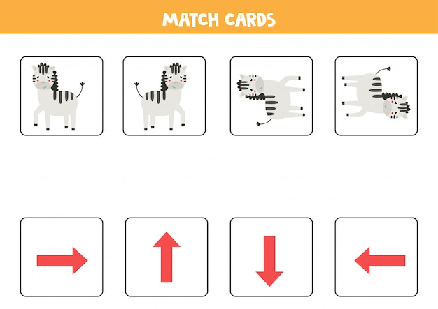 Match oriëntatiekaarten en zebra's. kaartspel voor kinderen.