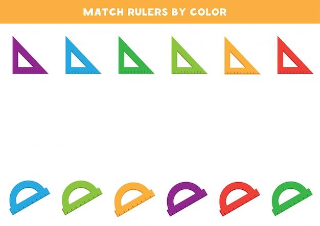 Match schoolheersers op kleur.
