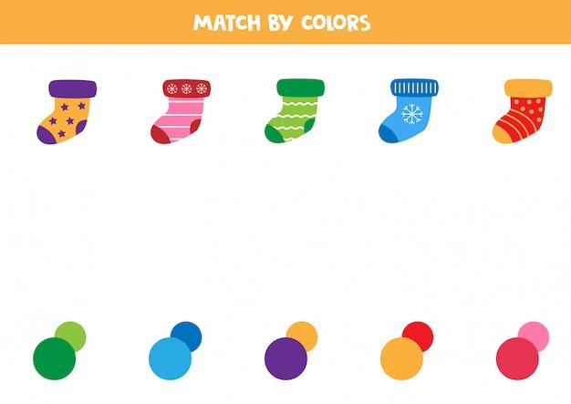 Match sokken en kleuren. educatief spel voor kinderen.