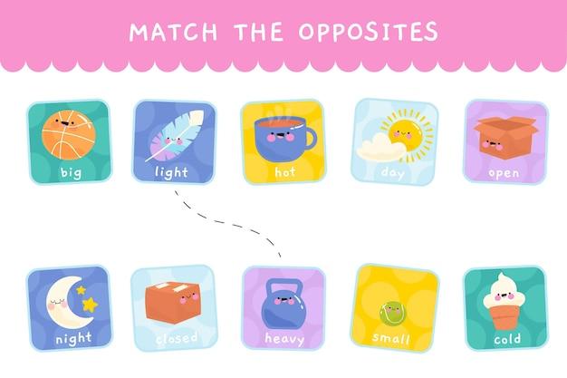Match spel met tegengestelde woorden